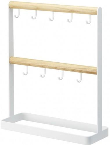 Biely vešiak na kľúče s detailom z bukového dreva YAMAZAKI Tosca