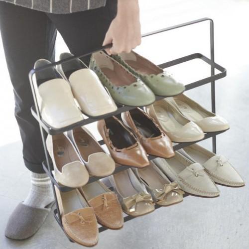 Stojan na topánky Yamazaki Tower Shoe Rack, široký / čierny