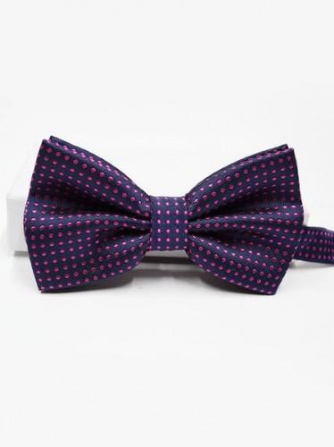Milanoo Men Bow Tie Dress Tie Navy Blue Pink Polka Dot Cosplay Costume Halloween Accessories