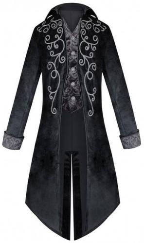 Milanoo Retro Costumes For Man 18 Century Black Vintage Long Sleeves Uniform Overcoat Cosplay Halloween
