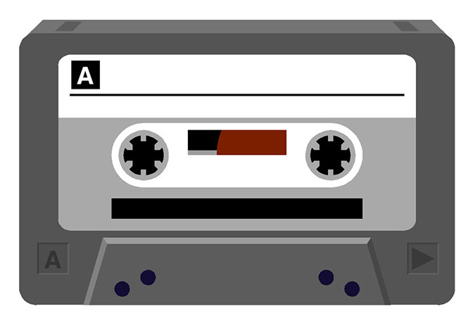 A drawing of a cassette tape.