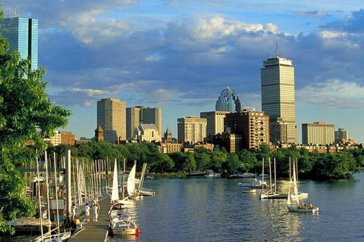 A picture of the Boston skyline from the Boston Harbor