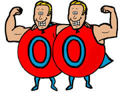 A picture of two cartoon men flexing with one arm on each other. Both wear a red round costum with a zero on it in blue. Both are blond and have blue capes.