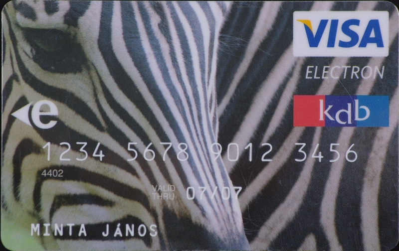 KDB Bank VISA Electron (nem dombornyomott)