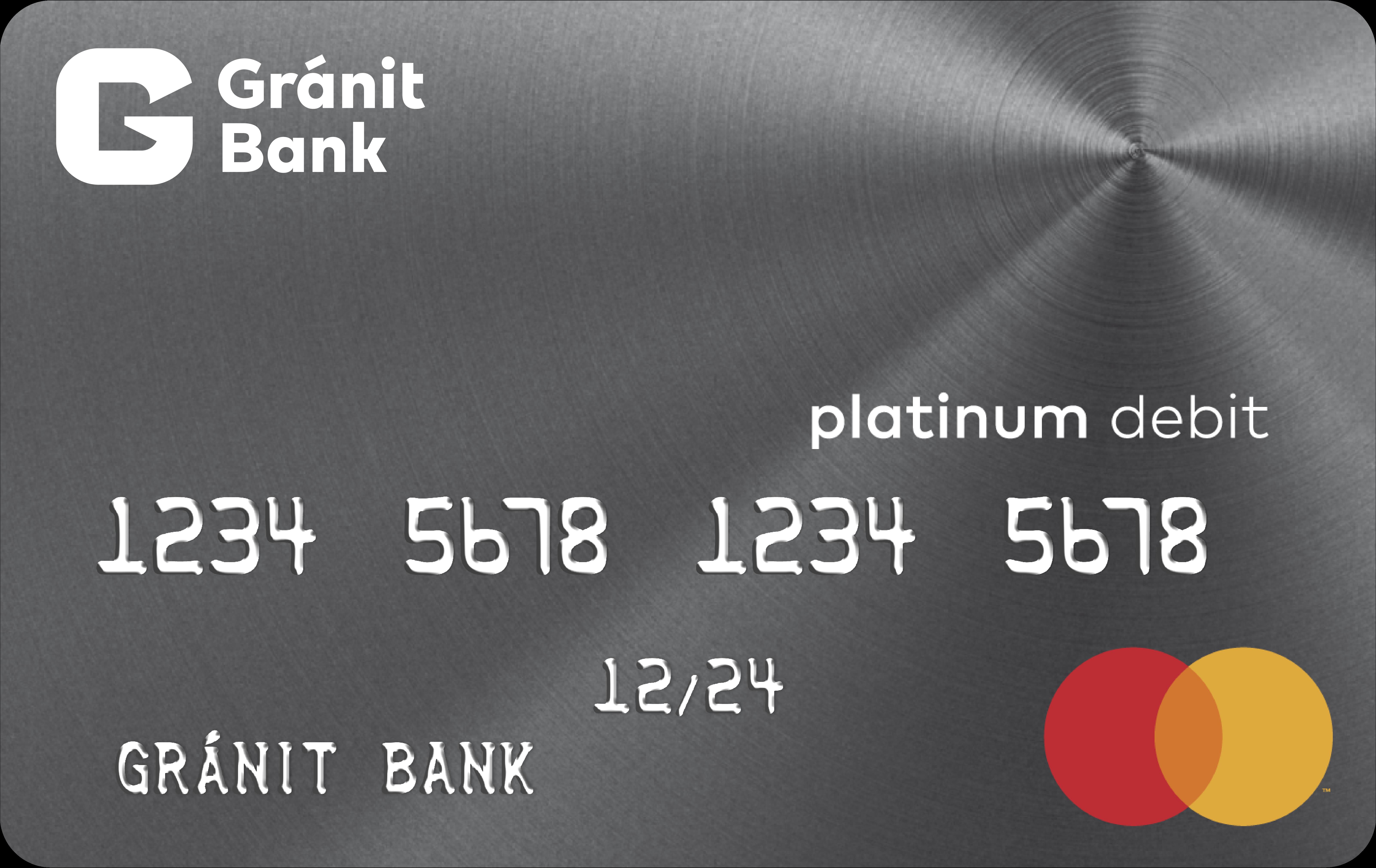 Gránit Bank Platinum bankkártya (dombornyomott)