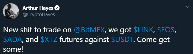 Arthur Hayes, the CEO of Bitmex, announced on Twitter the listing of new contracts on Bitmex in his own way: