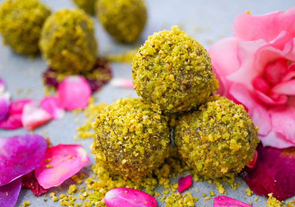 Cardamom Pistachio Rose Energy Balls (Gluten Free, Refined Sugar Free, Vegan, Paleo)