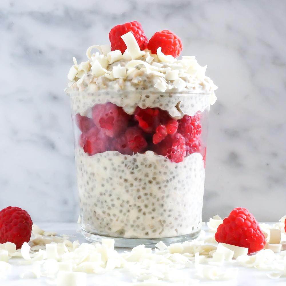 White Chocolate Raspberry Overnight Chia Oatmeal Recipe