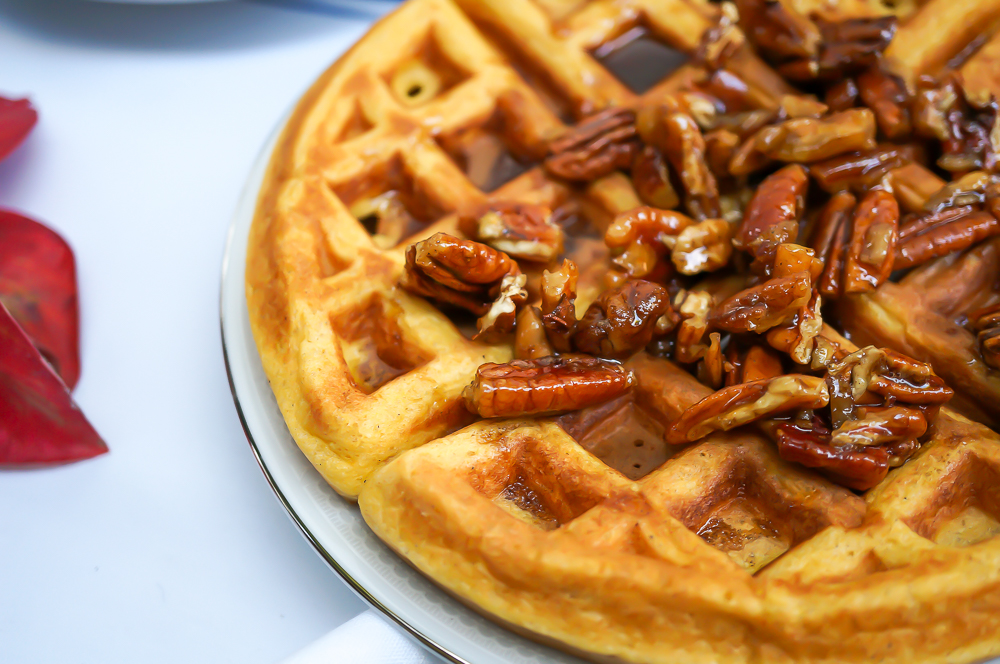 Cardamom Pumpkin Waffles with Chai Spiced Maple Pecans (Gluten Free, Paleo, Refined Sugar Free)