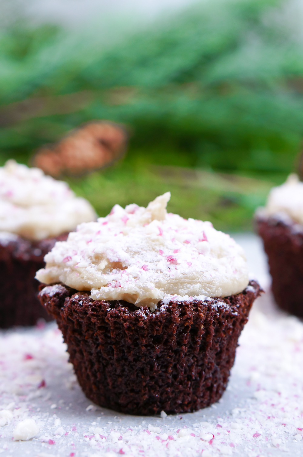 Snow-Dusted Healthy Chocolate Peppermint Cupcakes (Gluten Free, Grain Free, Refined Sugar Free)