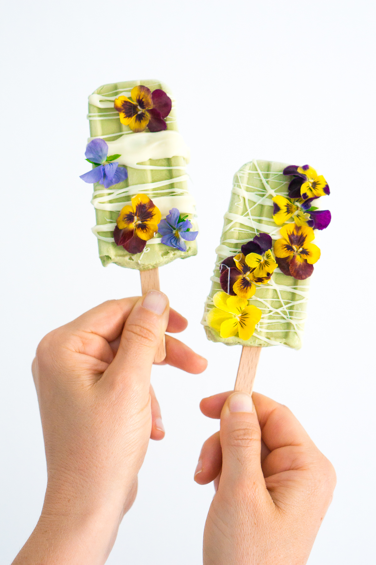 673652480ad White Chocolate Basil Popsicles with Edible Flowers (Vegan
