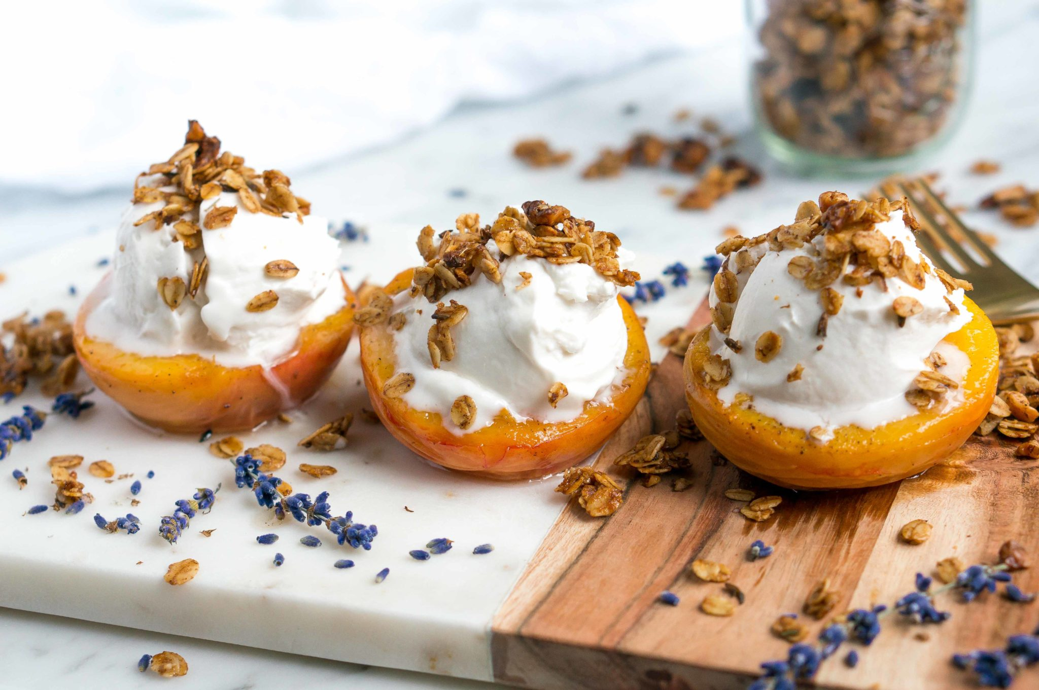 Roasted Peaches with Coconut Yogurt & Cinnamon Lavender Granola (Gluten Free, Vegan, Refined Sugar Free)