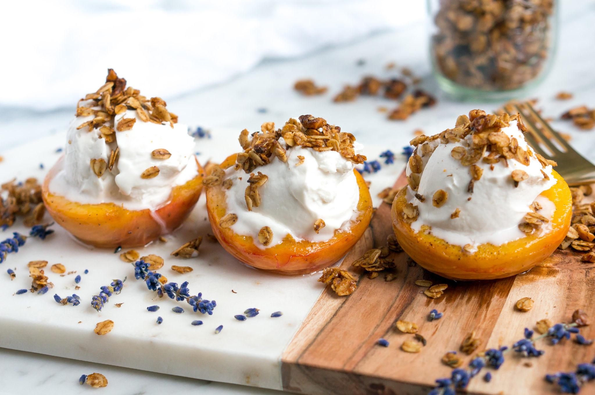 healthy-cinnamon-lavender-granola-roasted-peaches-4