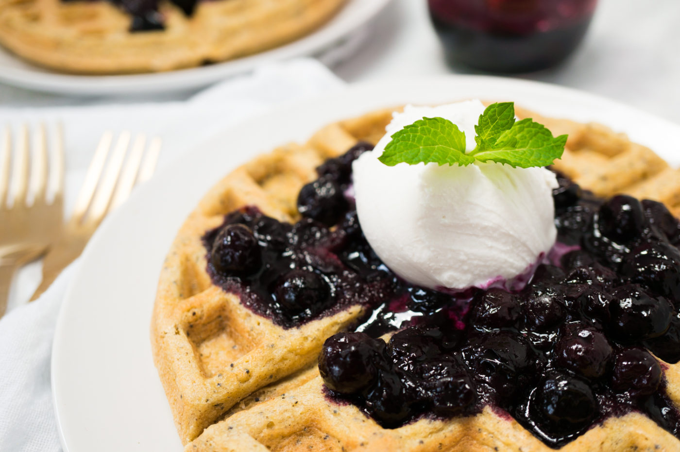 Lemon Poppyseed Waffles with Quick Easy Bluberry Compote