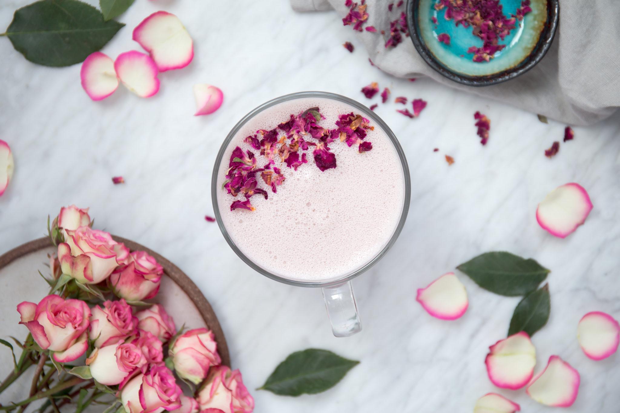 Rose Latte (Dairy Free, Refined Sugar Free, Stress Reducing)
