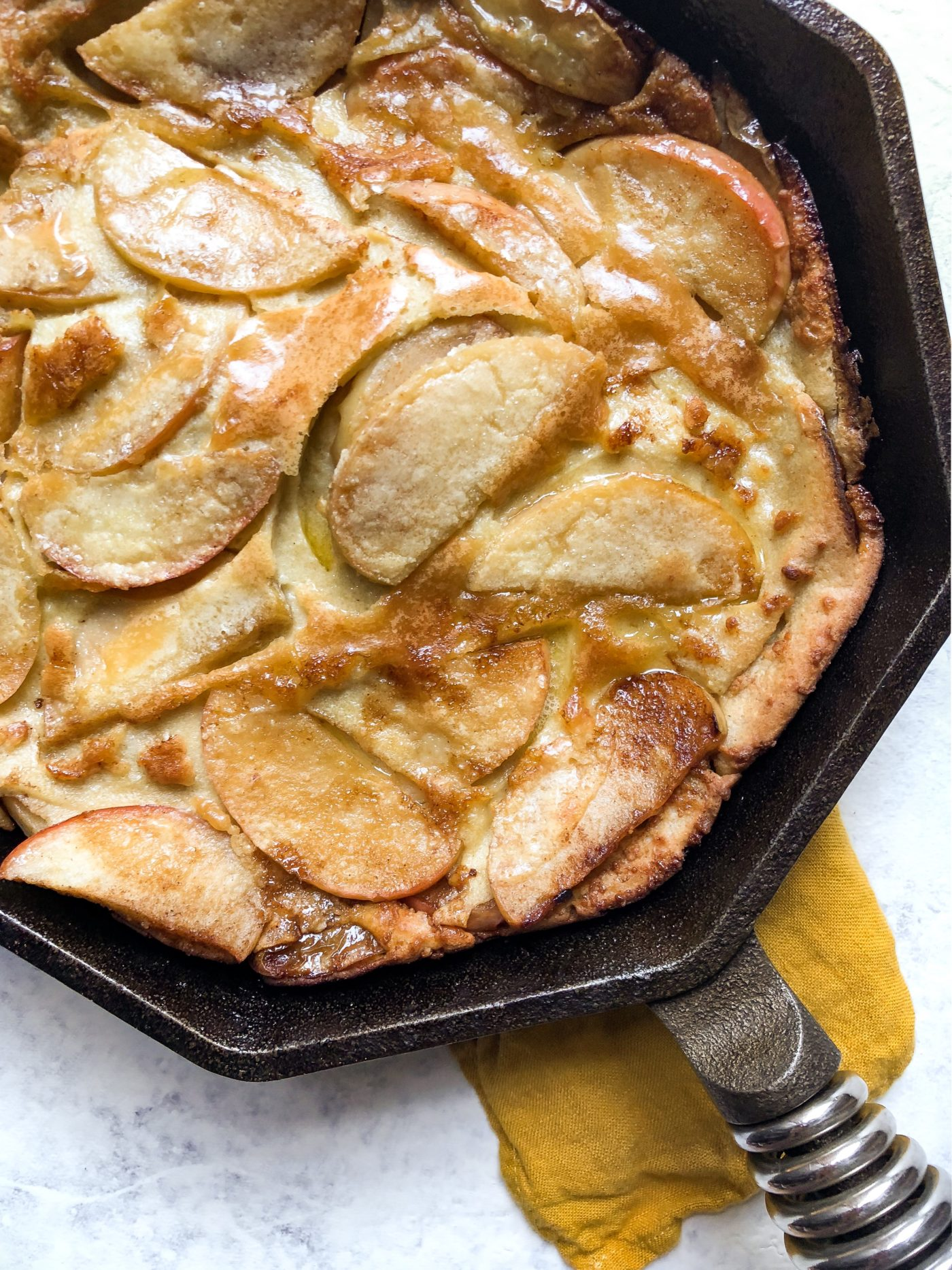 Healthy Caramelized Apple Dutch Baby (Gluten Free, Grain Free, Paleo)