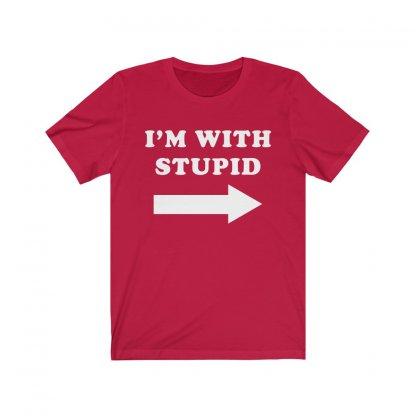 I'M WITH STUPID T-shirt (Red) Worn by Matt Damon 1