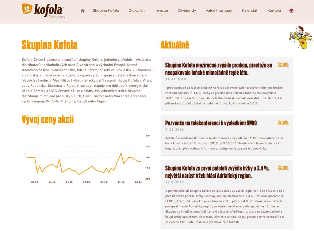 Kofola ČeskoSlovensko web pro investory