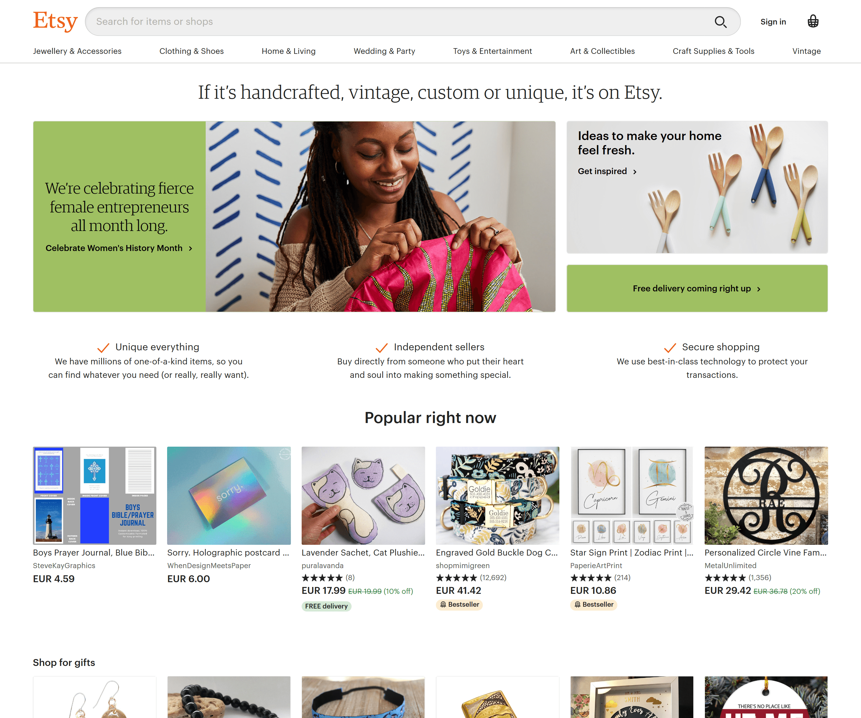etsy product recommendations