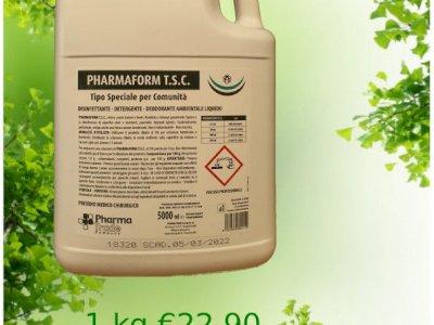 vendo Pharmaform T.S.C. disinfettante, detergente, fragrante, attivo contro batteri e virus, disinfetta, deterge, garantendo l'igiene degli ambienti trattati. Non macchia.