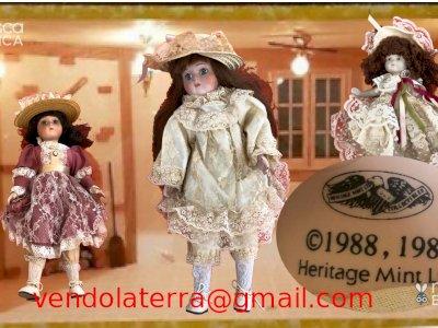 Dispongo di 3 bambole in porcellana della Heritage Mint Limited Collection, anno 1988 - 1989. La piu alta 40 cm, vestiti estraibili.