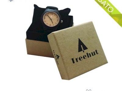 Orologio da polso Treehut Wood con cinturino in pelle analogico al quarzo in legno da uomo