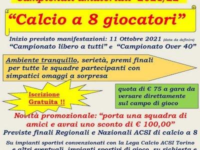 Campionato amatoriale di calcio a 8 in Torino da Ottobre 2021
