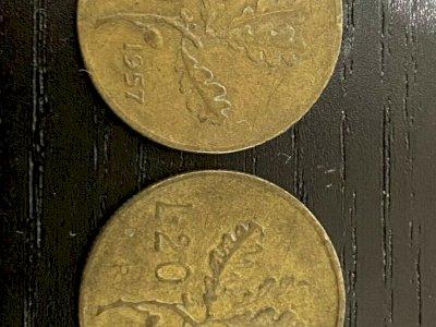 2 Monete da 20 Lire 1957 - 1 Con Gambo Del 7 Largo - rare