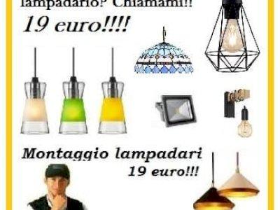 Montaggio lampadario e plafoniera su tutta Roma con 19 euro