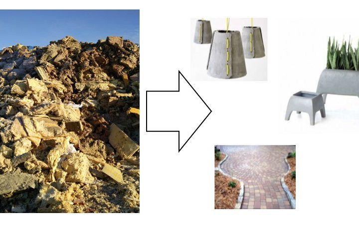 Rakennus- ja purkujätteen mineraalivillat ekobetoniksi