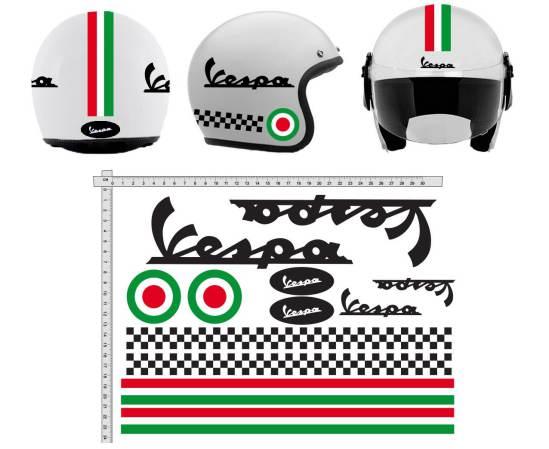 Adesivi Per Casco Vintage Kit Vespa Nero Strisce Italia