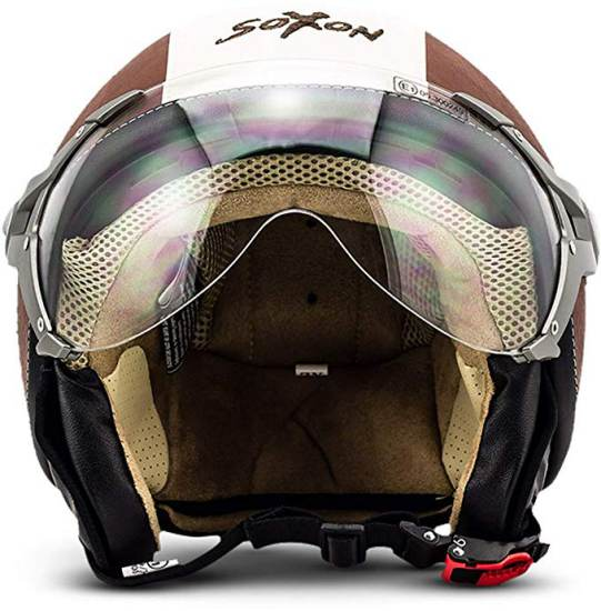 Casco Demi Jet Vintage Marrone Soxon Sp 325 1