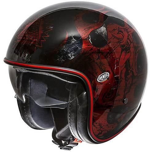 Casco Moto Jet Vintage In Fibra Premier Vintage Evo Bd Red Chromed Nero Lucido