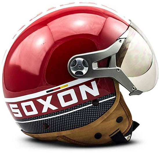 Casco Vintage Demi Jet Rosso Soxon Sp 325 Plus Red 3