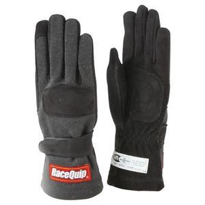 RACEQUIP 2 Layer 2XL Black/Black 355 Series Driving Gloves P/N 355007
