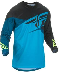 Fly Racing F-16 Youth Jersey Blue/Black/Hi-Vis (Blue, Small)