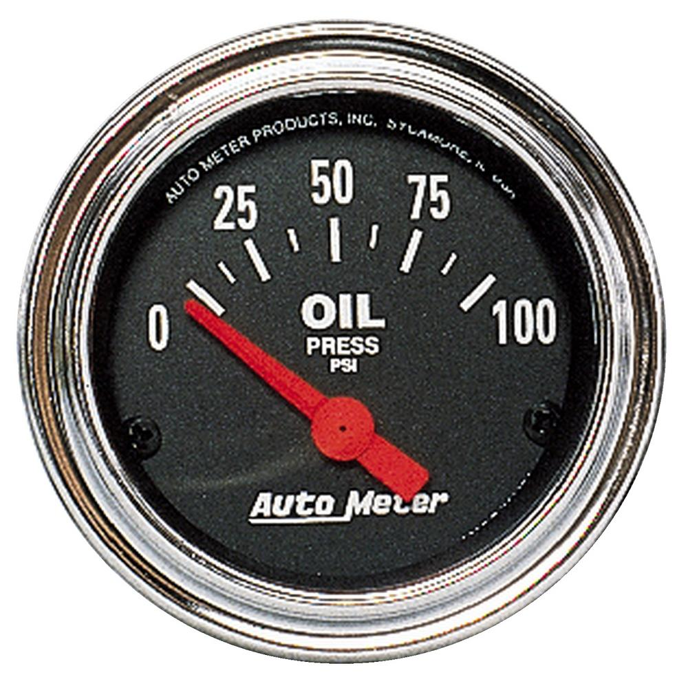 "AutoMeter 2522 Traditional Chrome Electric Oil Pressure Gauge 2 1/16"" 0-100 psi"