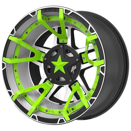 """XD827 Rockstar 3 20x9 5x5.5""""/5x150 -12mm Machined/Green Split Wheel Rim 20"""" Inch"""