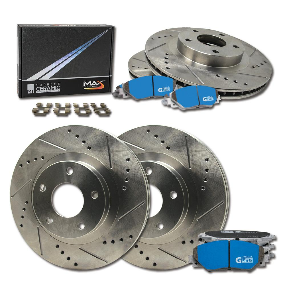 Max Brakes Front & Rear Supreme Brake Kit [ Premium Slotted Drilled Rotors + Ceramic Pads ] KM038433 Fits: 2005 - 2008 Sonata | 2006 - 2010 Optima Magentis Sportage | 2005 - 2009 Tucson