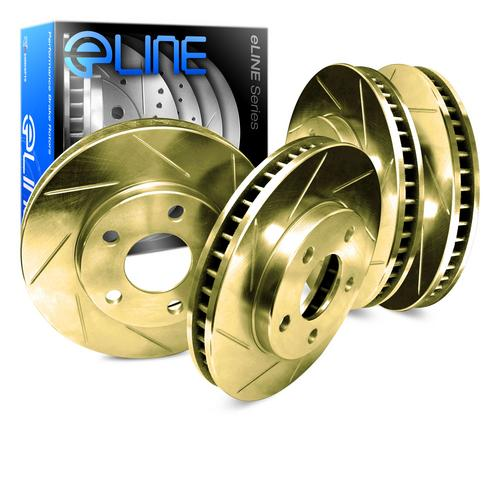 For 1990 Ford Taurus Front Rear eLine Gold Slotted Brake Rotors