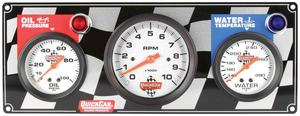 QUICKCAR RACING PRODUCTS White Face Gauge Panel Assembly P/N 61-60313