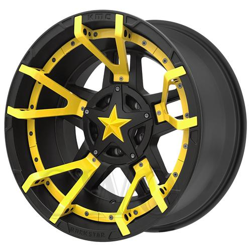 "XD827 Rockstar 3 20x9 6x135/6x5.5"" -12mm Black/Yellow Split Wheel Rim 20"" Inch"