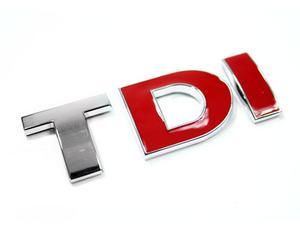 VW TDI TRUNK EMBLEM BADGE - CHROME/RED