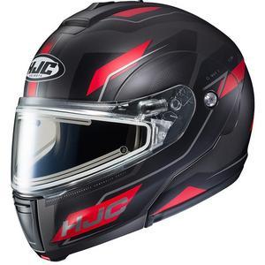 HJC CL-Max III Flow Snow Helmet with Electric Shield Semi-Flat Red (MC-1SF) (Black, X-Large)