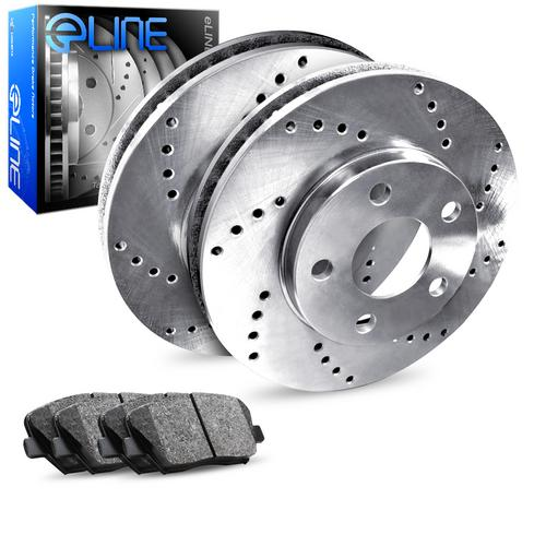 For 1998-2003 Subaru Impreza, Forester Rear Drilled Brake Rotors+Semi-Met Pads