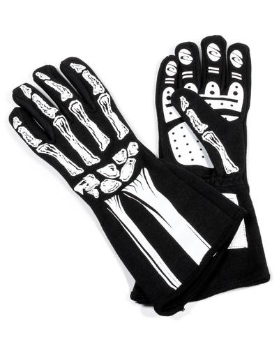 Rjs Safety Black White Large 1 Layer Skeleton Driving Gloves Pn