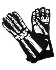 RJS SAFETY Black / White X-Large 1 Layer Skeleton Driving Gloves P/N 600080135