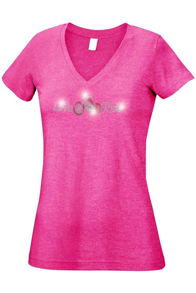 Women's Juniors V-Neck T Shirt Rhinestones Angel Wings Biker Live & Ride Graphic Tee: Heather Hot Pink (Small)