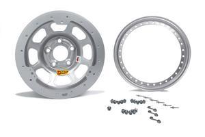 AERO RACE WHEELS 53-000530S 15X10 3in Wide 5 Silver Beadlock