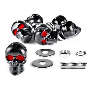 Krator Motorcycle 6 x Skull Black Bolts - Custom Black Motorcycle Bolts used for License Plate bolts, Windshield bolts & any 6mm thread, fits HONDA YAMAHA KAWASAKI SUZUKI HARLEY CRUISERS MOTORCYCLE